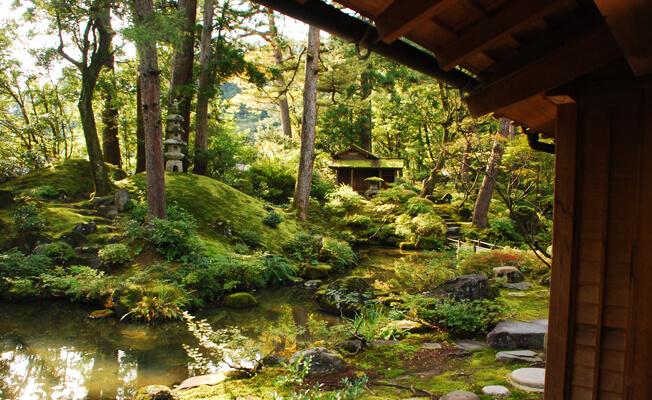 木漏れ日の里道にたたずむ京風の名園「貞観園」